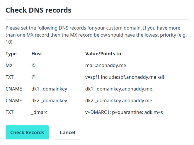 Verify domain for sending